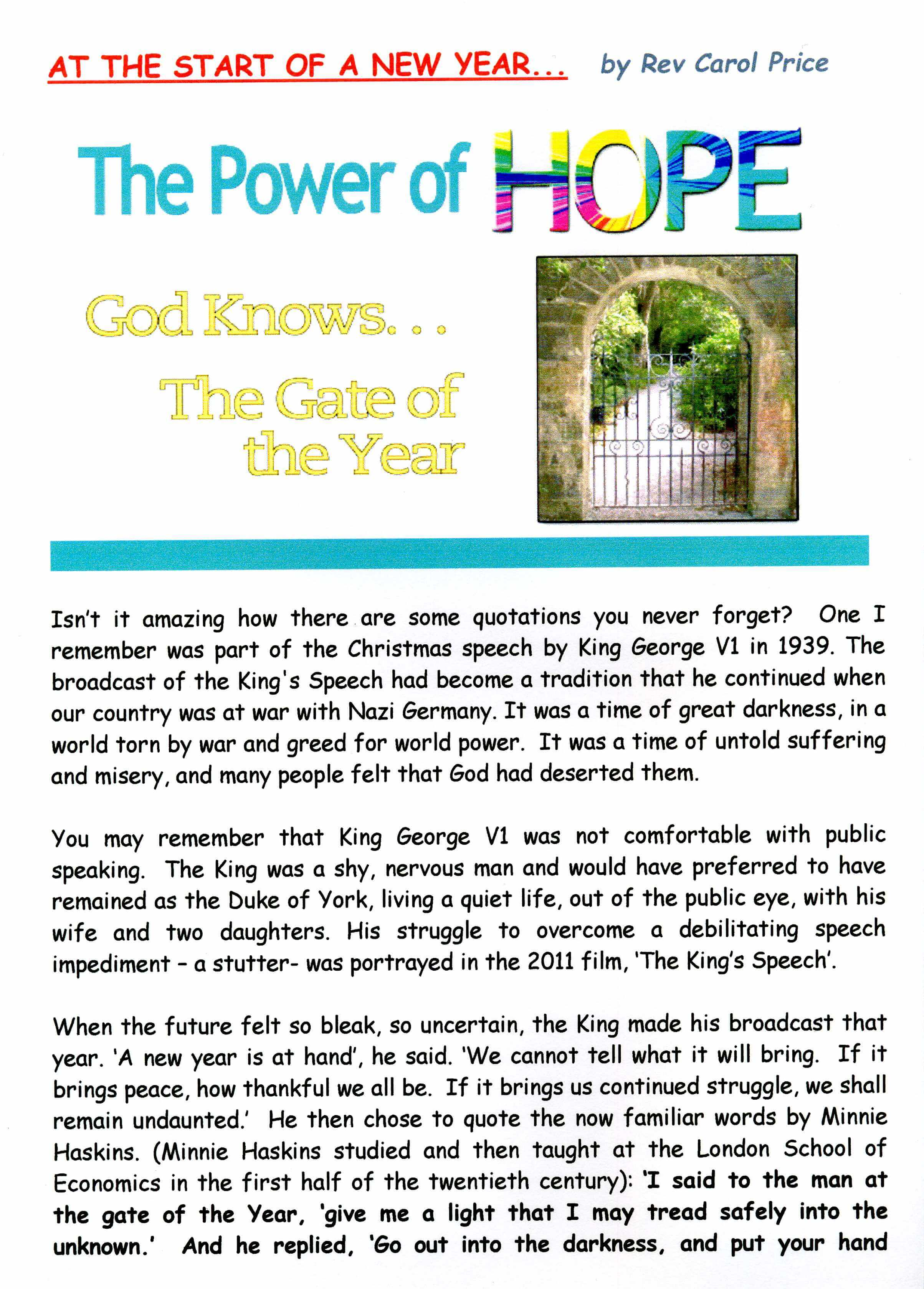 The Power of Hope for 2016